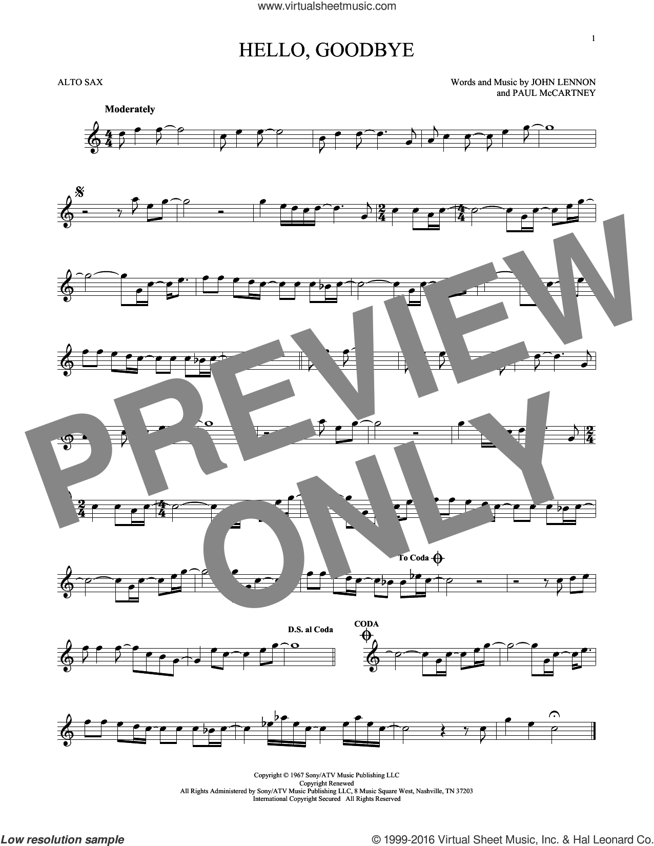 Hello, Goodbye sheet music for alto saxophone solo by The Beatles, John Lennon and Paul McCartney, intermediate skill level