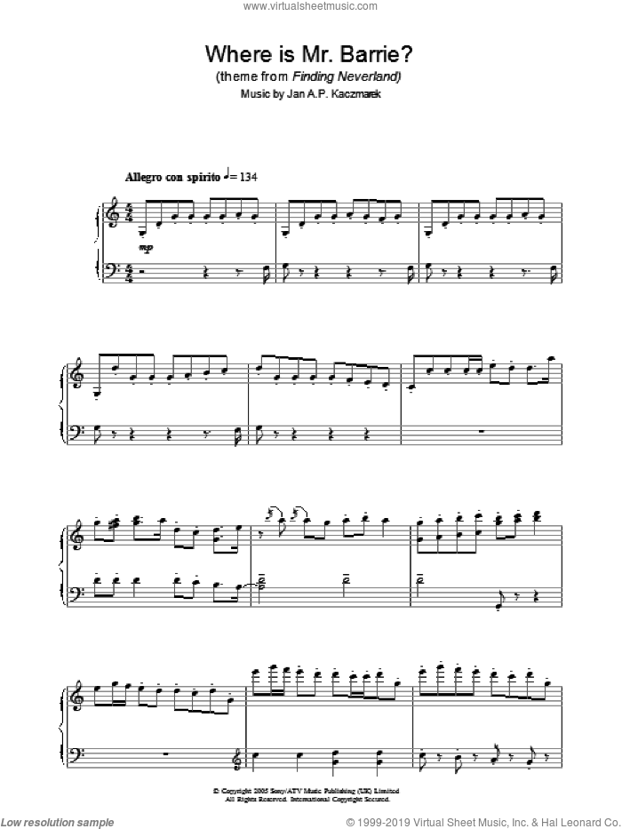Where Is Mr. Barrie? sheet music for piano solo by Jan A.P. Kaczmarek