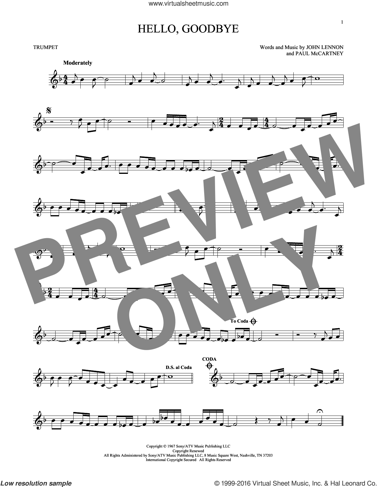Hello, Goodbye sheet music for trumpet solo by The Beatles, John Lennon and Paul McCartney, intermediate skill level