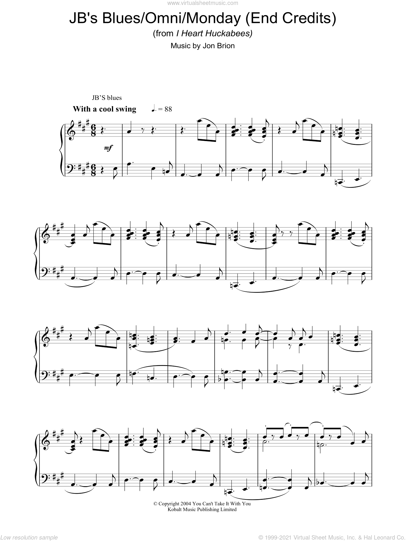 JB's Blues/Omni/Monday (End Credits) (from I Heart Huckabees) sheet music for piano solo by Jon Brion. Score Image Preview.