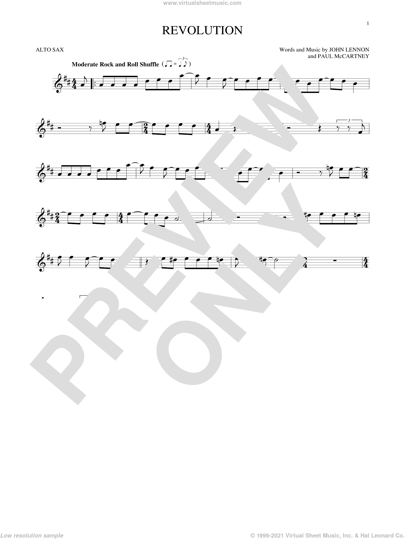 Revolution sheet music for alto saxophone solo by Paul McCartney, The Beatles and John Lennon. Score Image Preview.