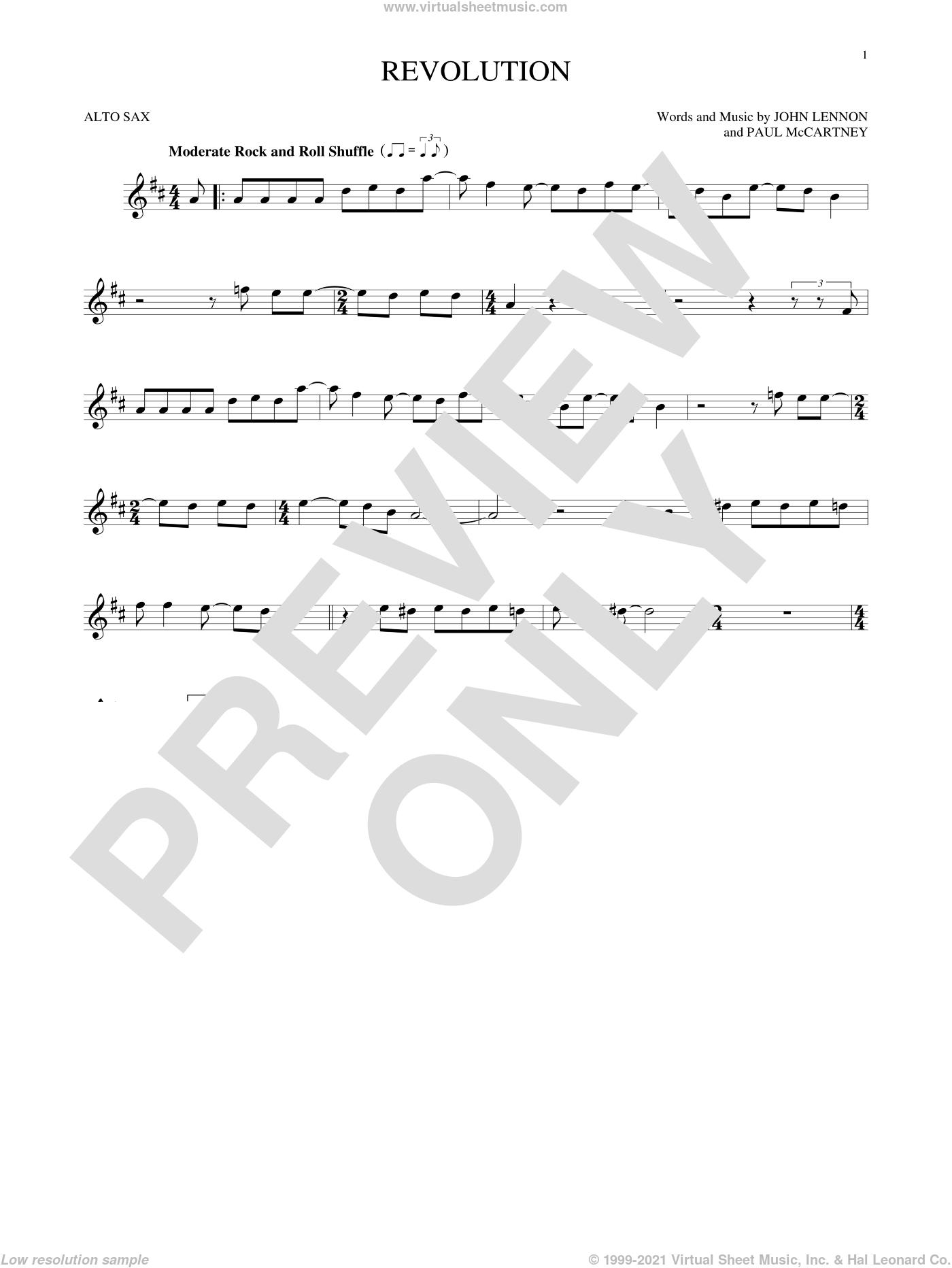 Revolution sheet music for alto saxophone solo by The Beatles, John Lennon and Paul McCartney, intermediate skill level