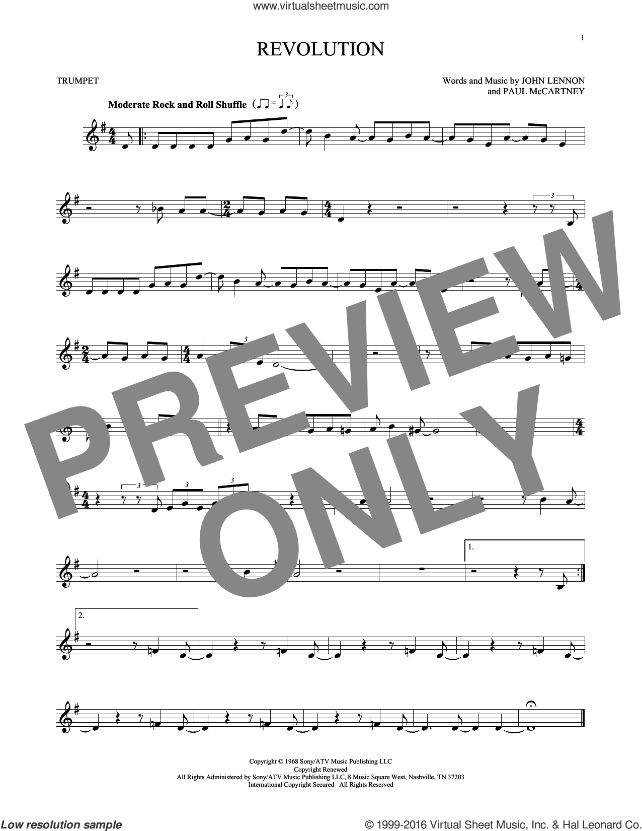 Revolution sheet music for trumpet solo by The Beatles, John Lennon and Paul McCartney, intermediate skill level