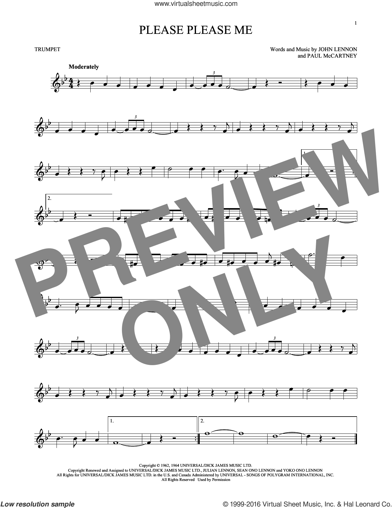 Please Please Me sheet music for trumpet solo by The Beatles, John Lennon and Paul McCartney, intermediate skill level