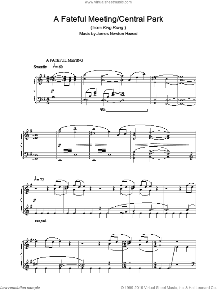 A Fateful Meeting/Central Park (from King Kong) sheet music for piano solo by James Newton Howard, intermediate skill level
