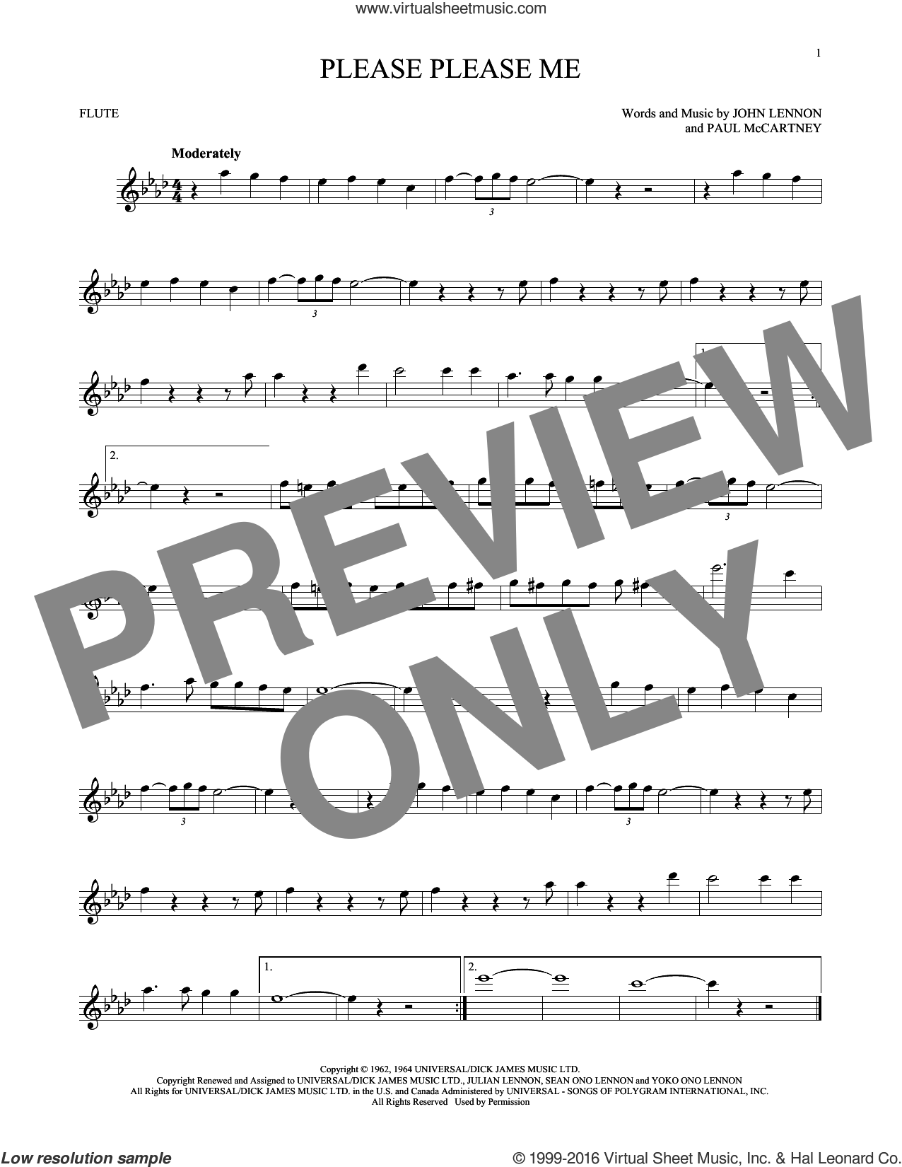 Please Please Me sheet music for flute solo by The Beatles, John Lennon and Paul McCartney, intermediate skill level