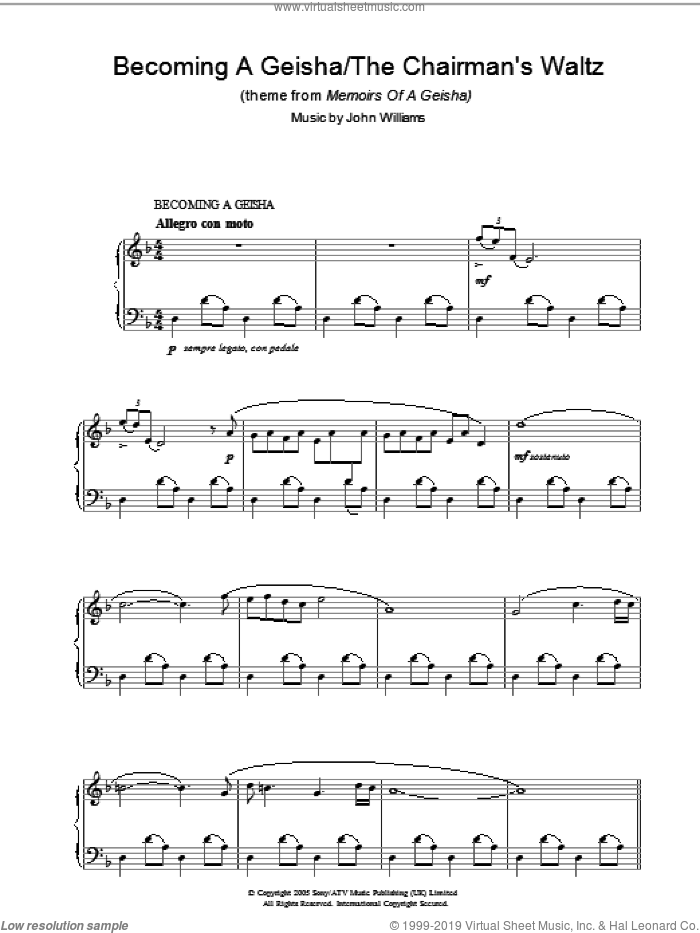 Becoming A Geisha/The Chairman's Waltz (theme from Memoirs Of A Geisha) sheet music for piano solo by John Williams. Score Image Preview.