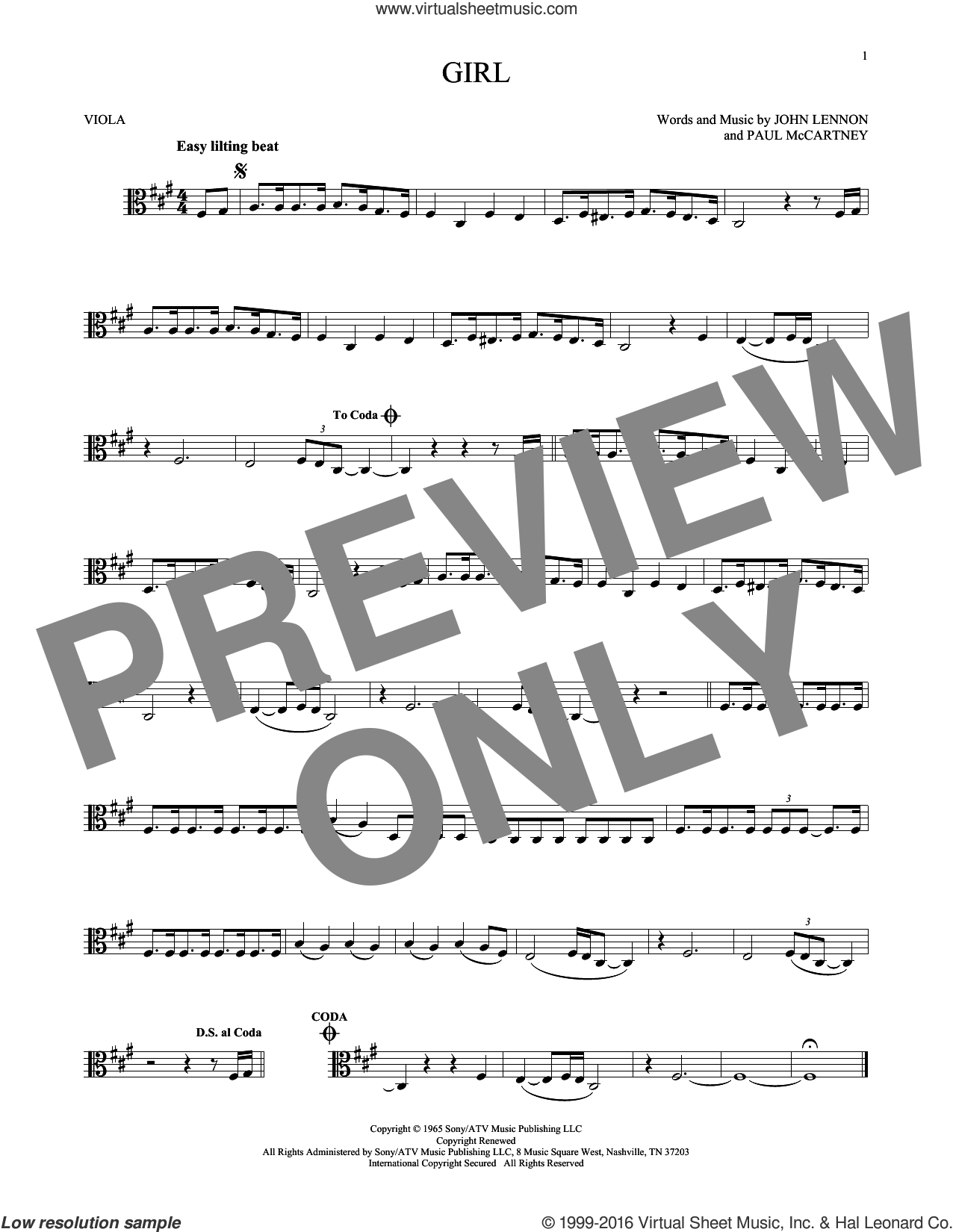 Girl sheet music for viola solo by The Beatles, John Lennon and Paul McCartney, intermediate viola. Score Image Preview.