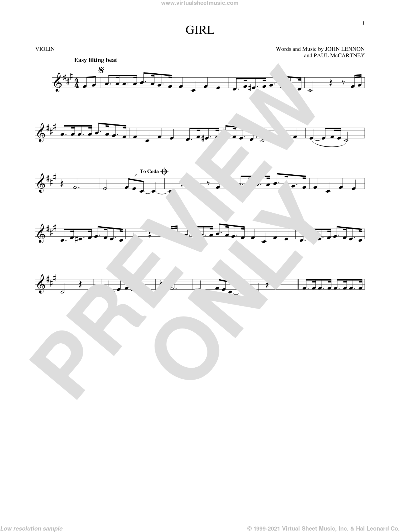 Girl sheet music for violin solo by The Beatles, John Lennon and Paul McCartney, intermediate skill level