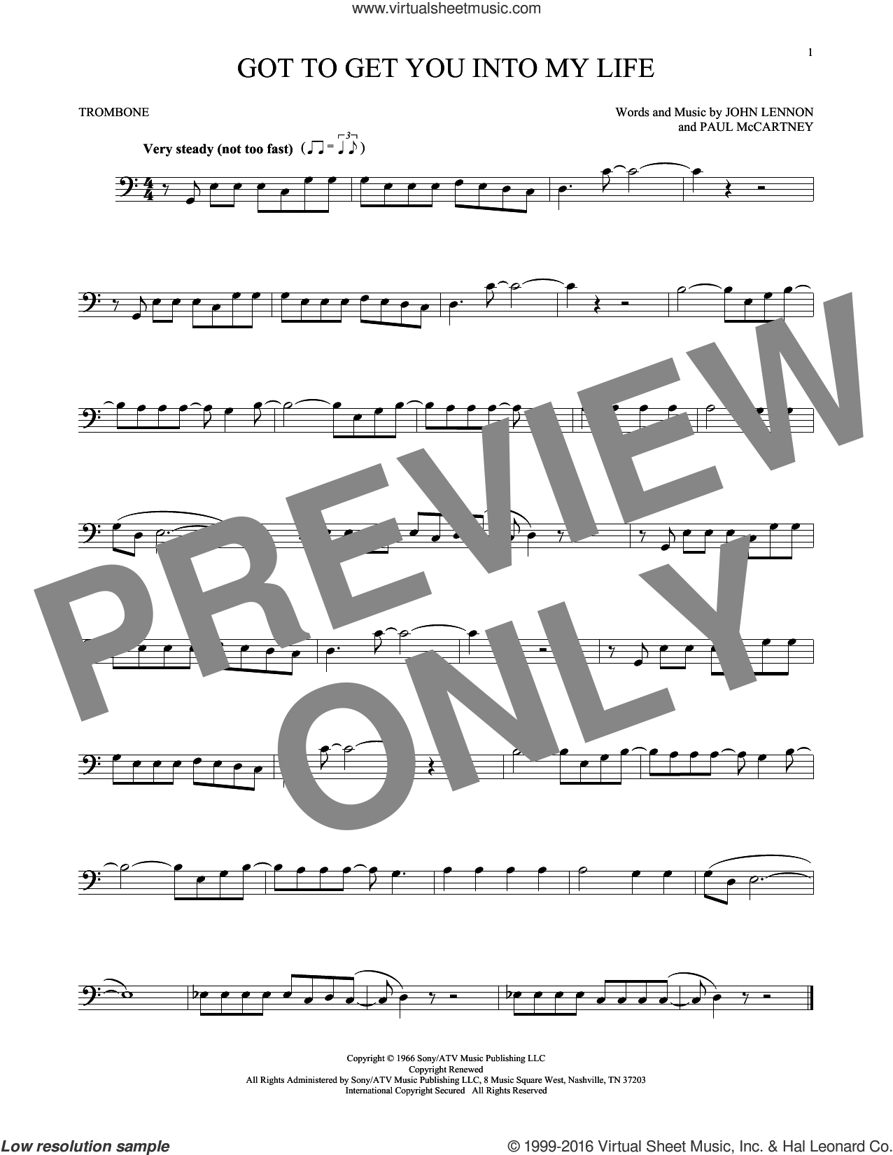 Got To Get You Into My Life sheet music for trombone solo by The Beatles, John Lennon and Paul McCartney, intermediate skill level