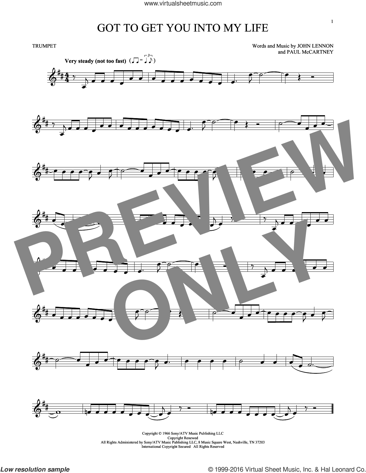 Got To Get You Into My Life sheet music for trumpet solo by The Beatles and John Lennon, intermediate skill level