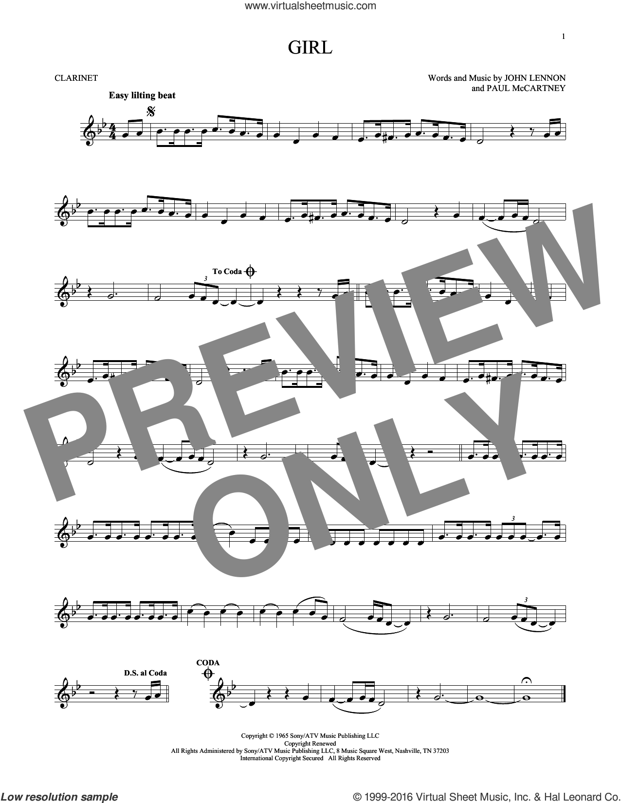 Girl sheet music for clarinet solo by The Beatles, John Lennon and Paul McCartney, intermediate skill level
