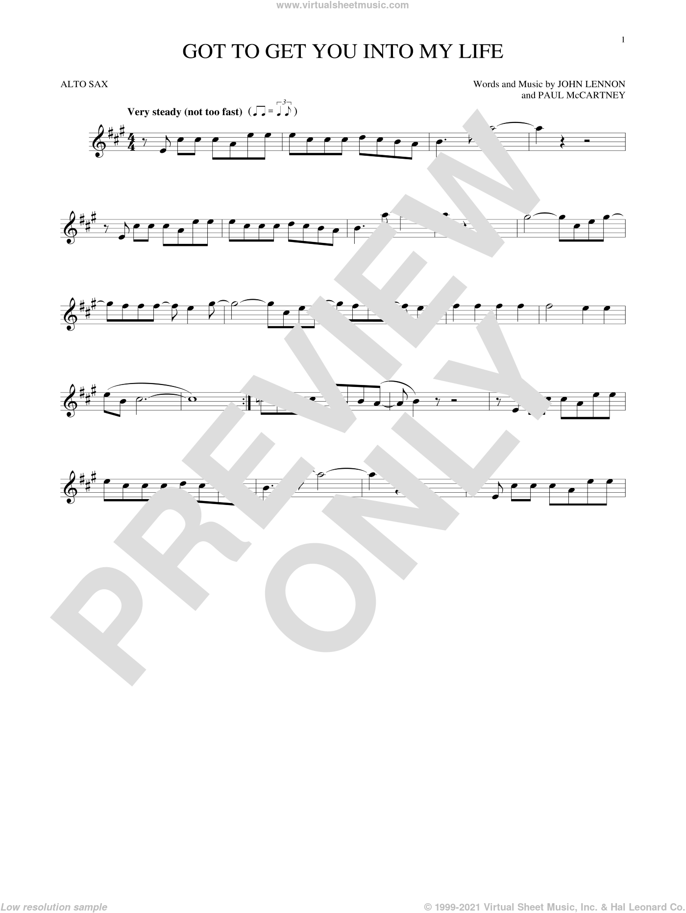 Got To Get You Into My Life sheet music for alto saxophone solo by The Beatles, John Lennon and Paul McCartney, intermediate alto saxophone. Score Image Preview.
