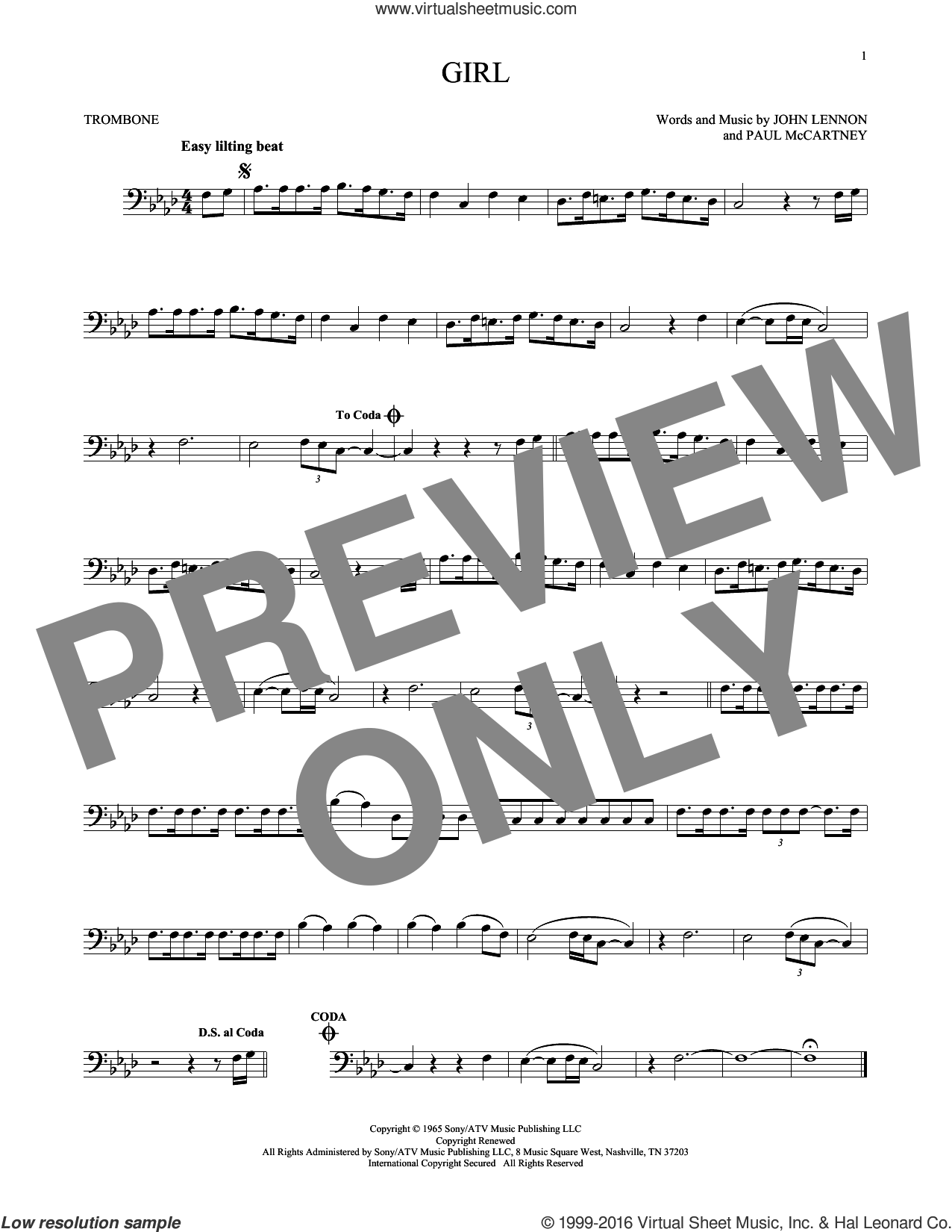 Girl sheet music for trombone solo by Paul McCartney, The Beatles and John Lennon. Score Image Preview.