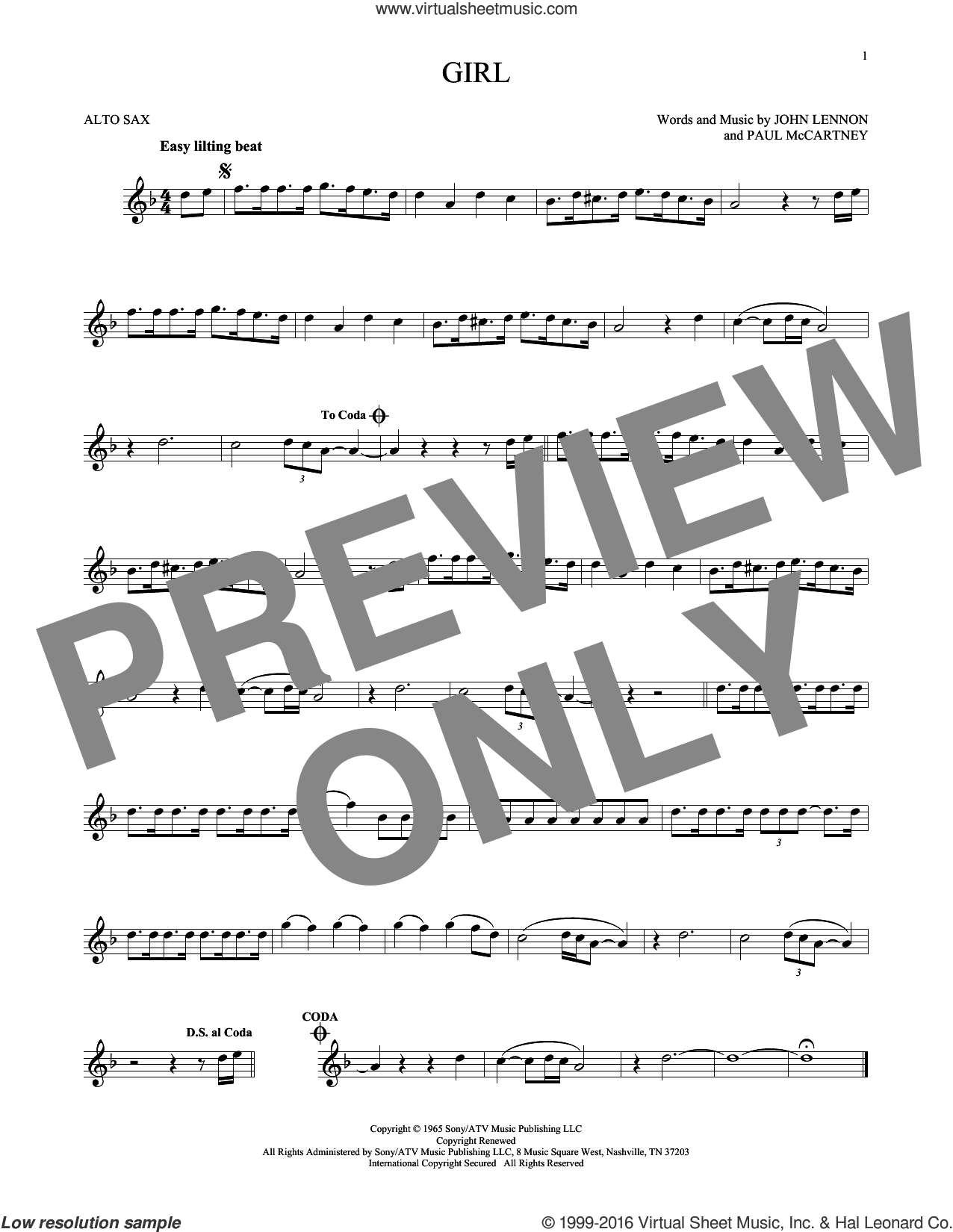 Girl sheet music for alto saxophone solo by The Beatles, John Lennon and Paul McCartney, intermediate alto saxophone. Score Image Preview.