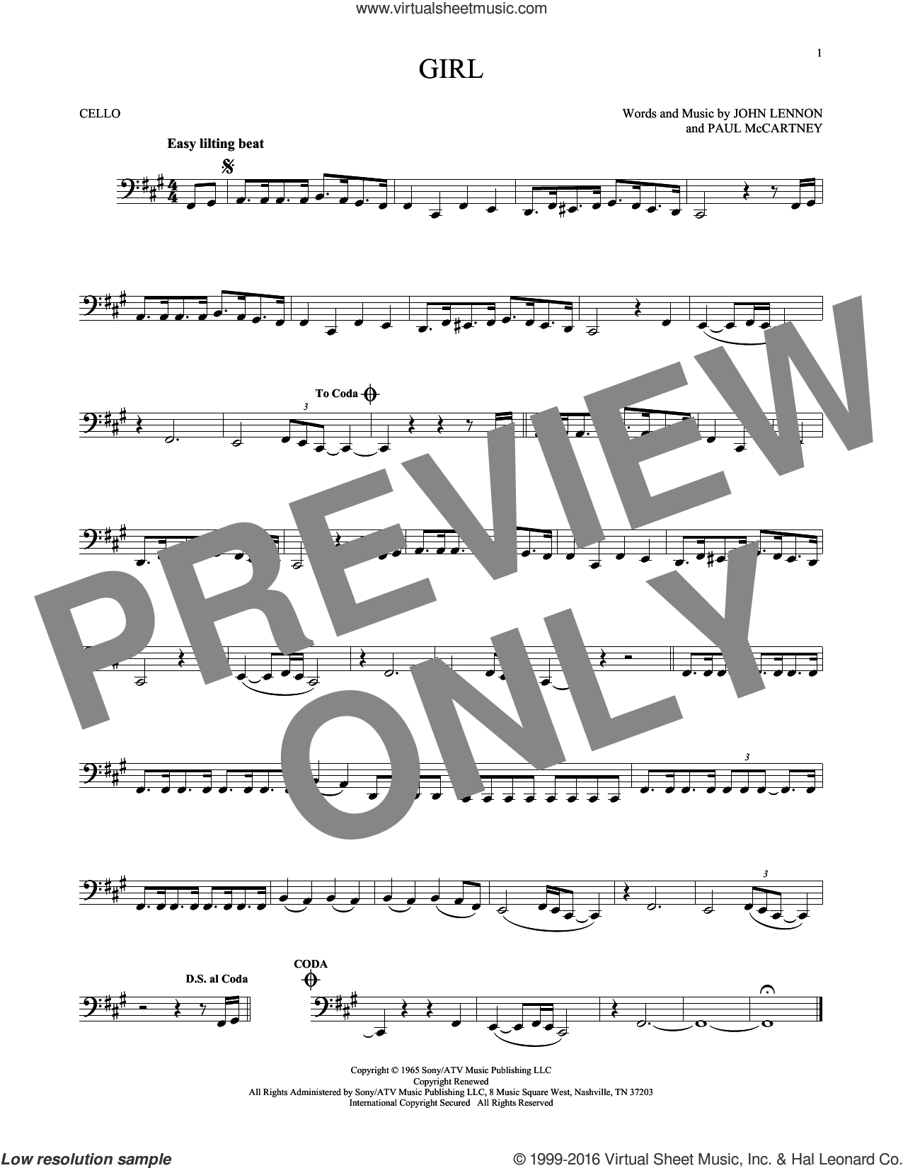 Girl sheet music for cello solo by Paul McCartney, The Beatles and John Lennon. Score Image Preview.