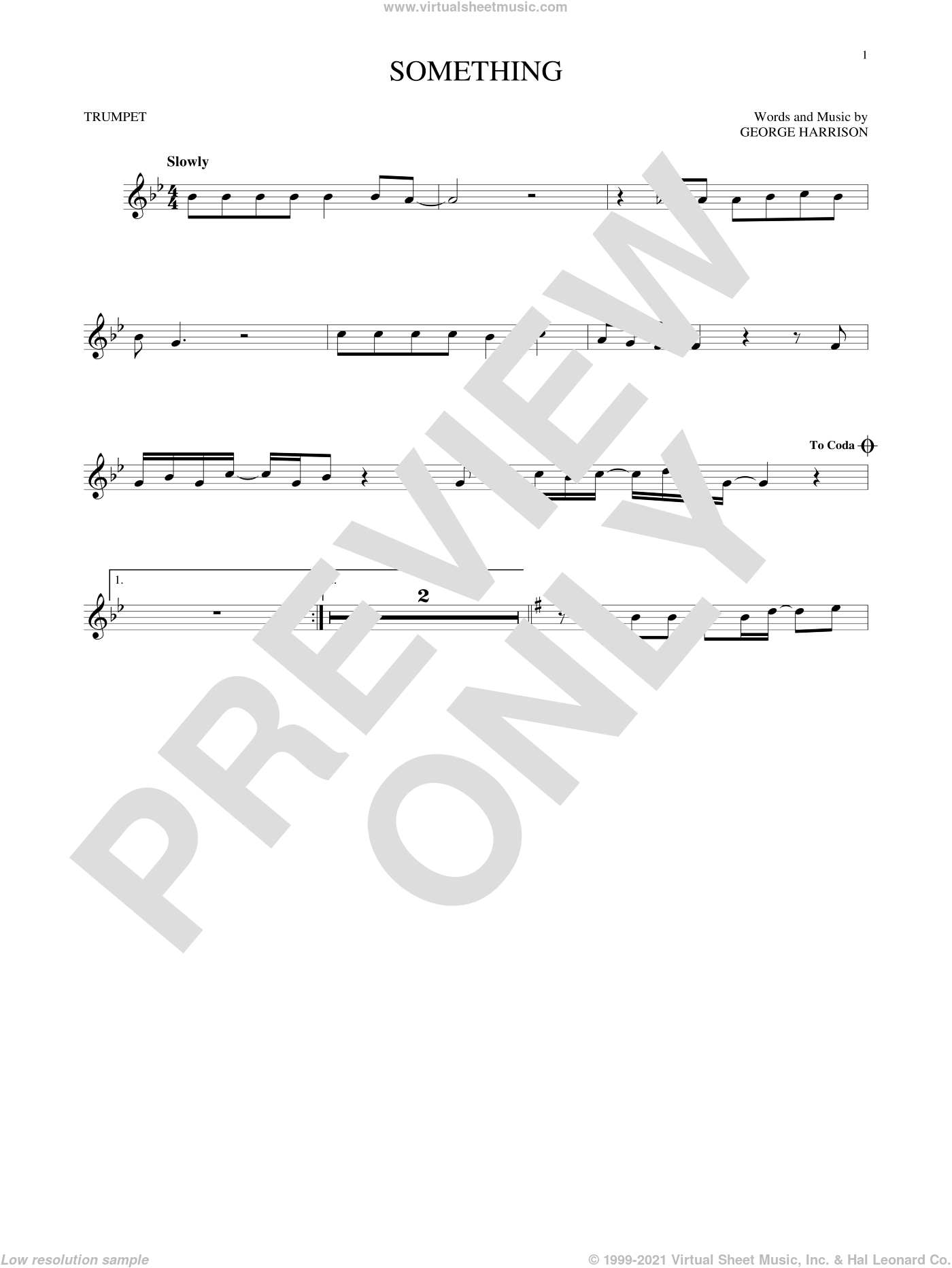 Something sheet music for trumpet solo by George Harrison and The Beatles. Score Image Preview.
