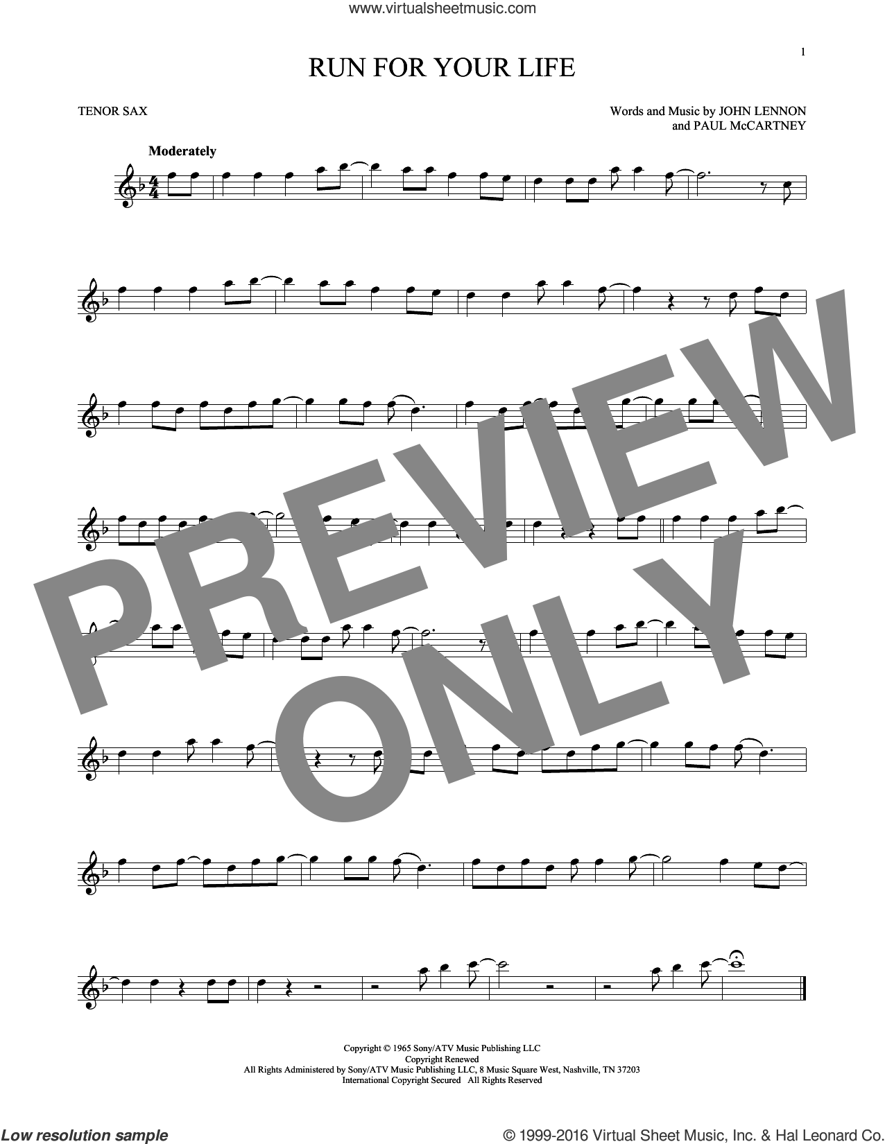 Run For Your Life sheet music for tenor saxophone solo by Paul McCartney, The Beatles and John Lennon. Score Image Preview.