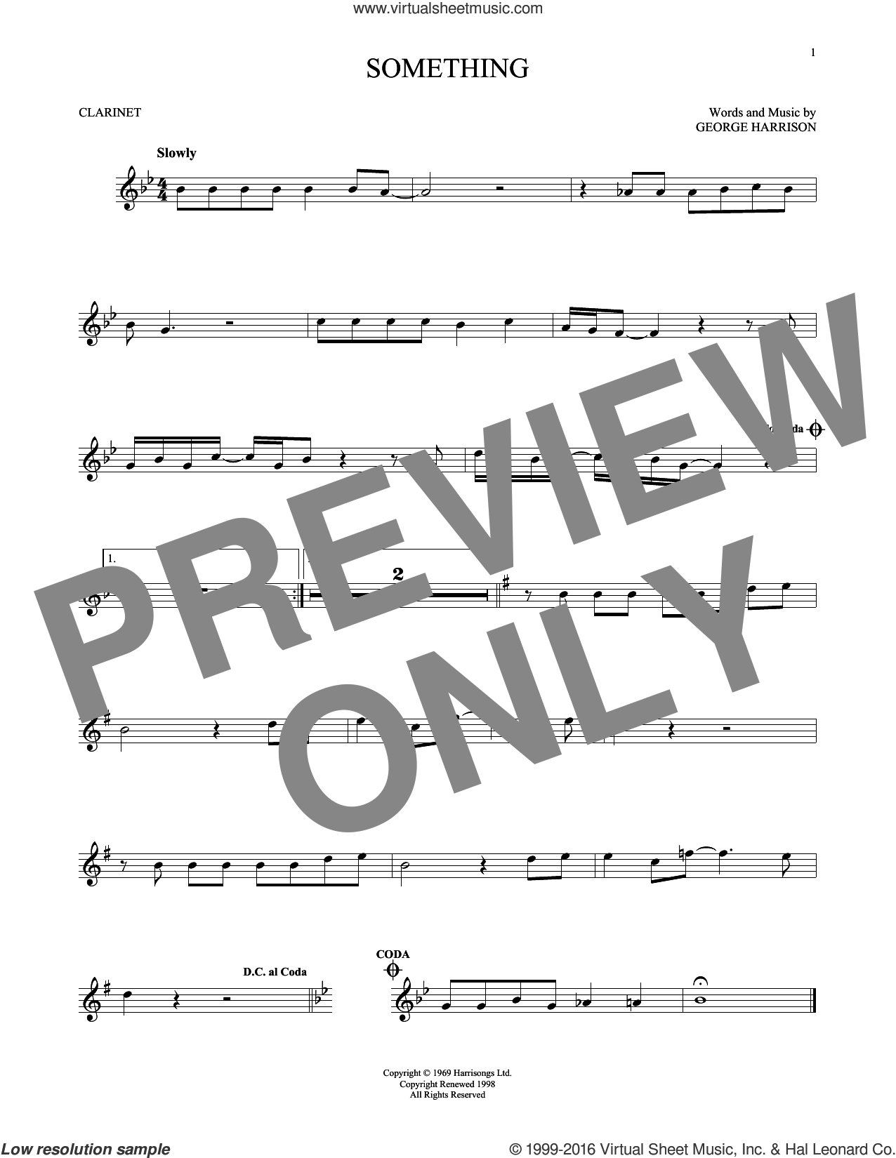Something sheet music for clarinet solo by The Beatles and George Harrison. Score Image Preview.