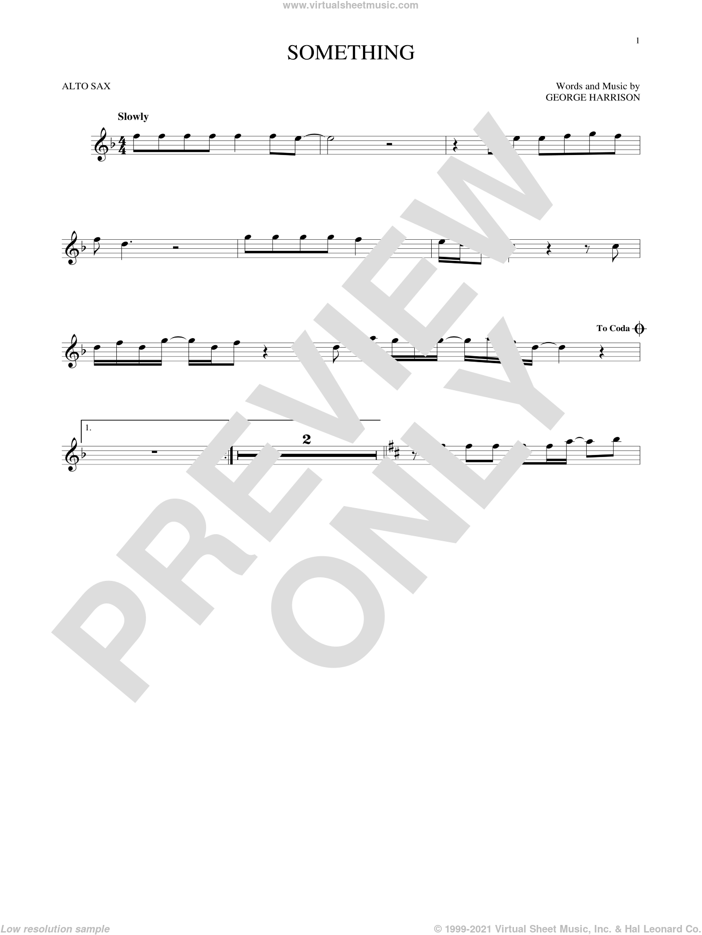Something sheet music for alto saxophone solo by The Beatles and George Harrison, intermediate skill level