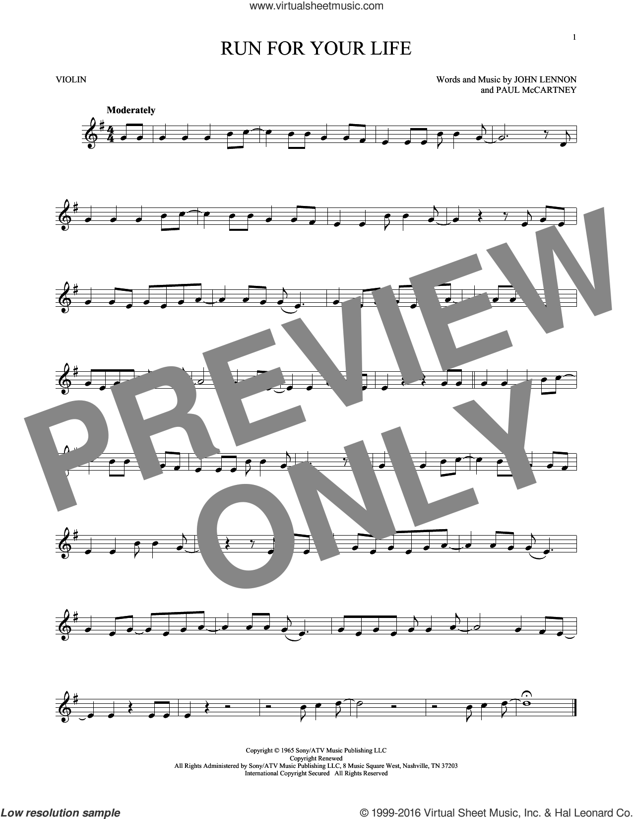 Run For Your Life sheet music for violin solo by Paul McCartney, The Beatles and John Lennon. Score Image Preview.