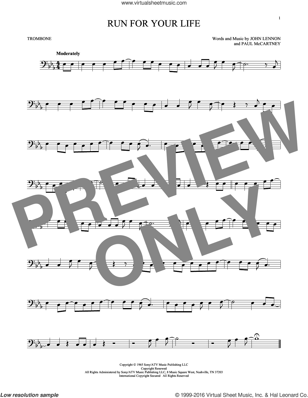 Run For Your Life sheet music for trombone solo by The Beatles, John Lennon and Paul McCartney, intermediate. Score Image Preview.