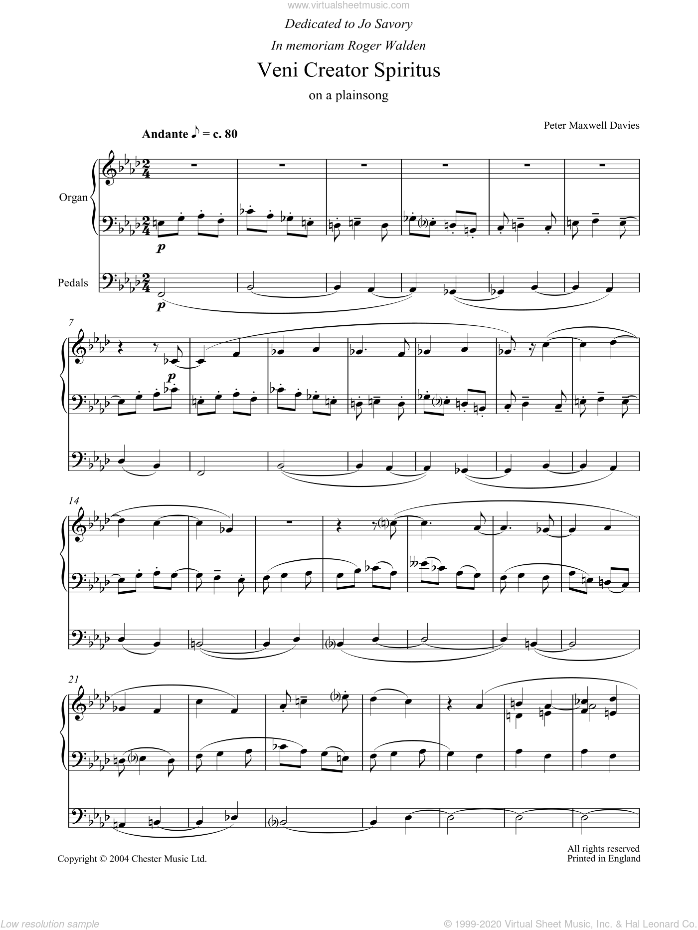 Veni Creator Spiritus sheet music for organ by Peter Maxwell Davies, classical score, intermediate