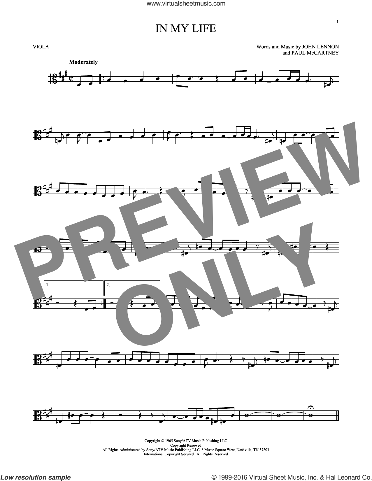 In My Life sheet music for viola solo by The Beatles, John Lennon and Paul McCartney, intermediate skill level