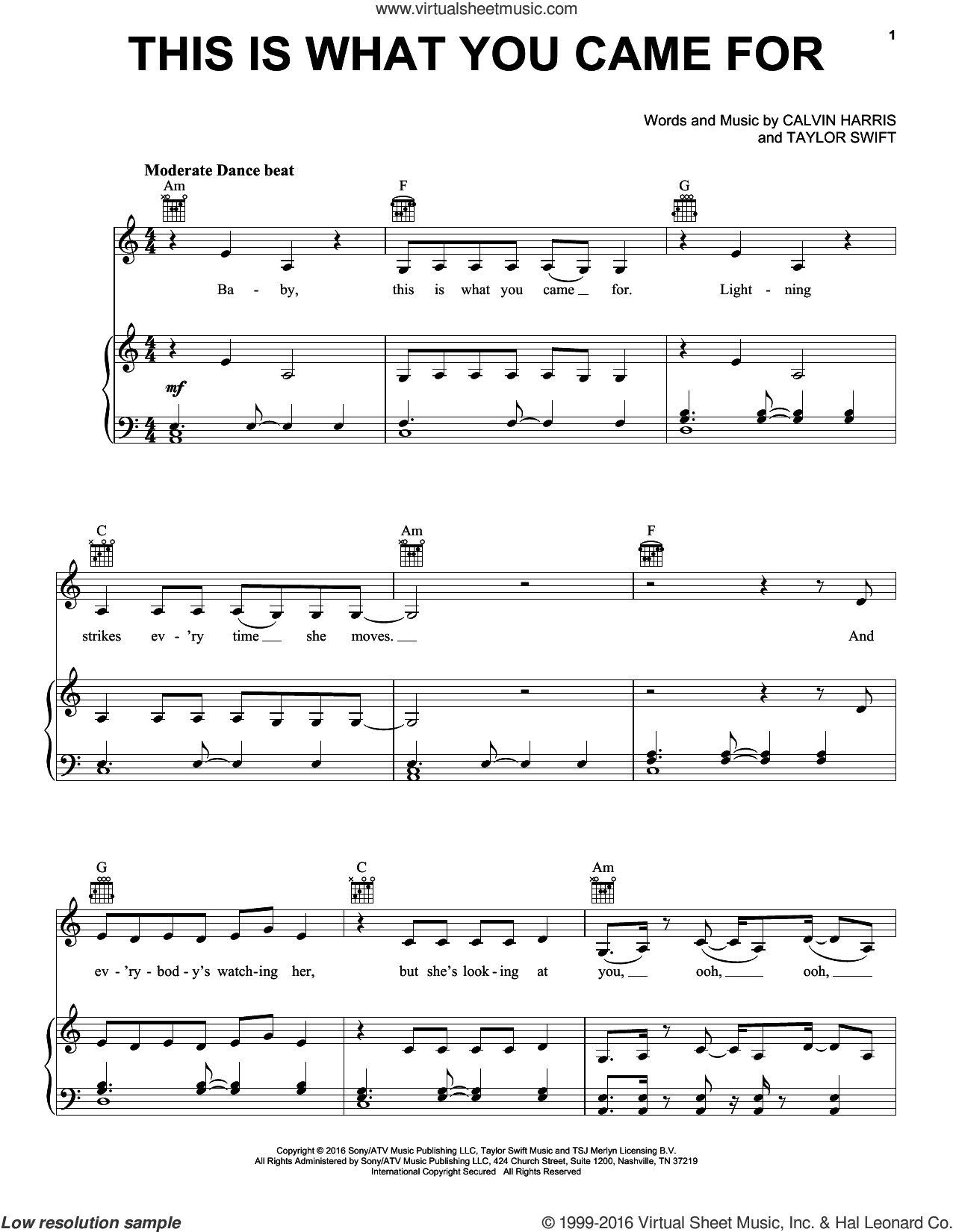 This Is What You Came For sheet music for voice, piano or guitar by Calvin Harris featuring Rihanna, Calvin Harris and Nils Sjoberg, intermediate