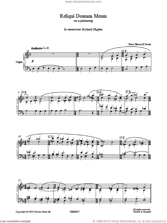 Reliqui Domum Meum sheet music for organ by Peter Maxwell Davies, intermediate
