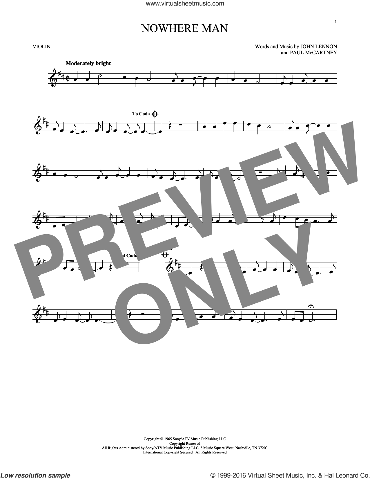 Nowhere Man sheet music for violin solo by The Beatles, John Lennon and Paul McCartney, intermediate skill level