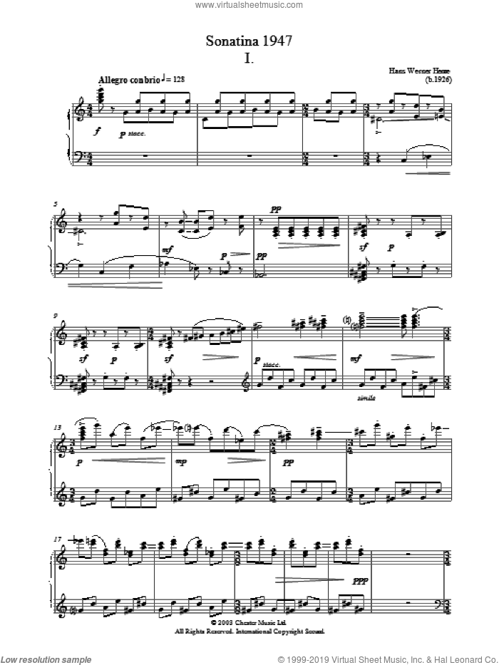 Sonatina 1947 sheet music for piano solo by Hans Werner Henze, classical score, intermediate skill level