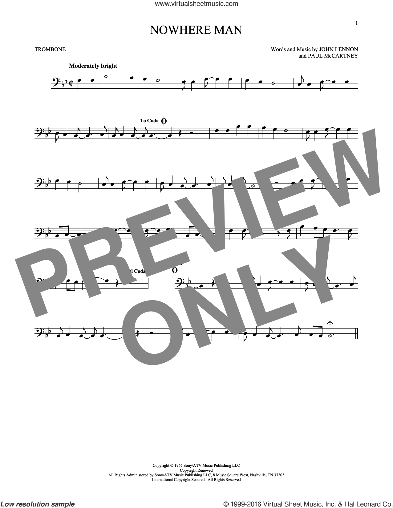 Nowhere Man sheet music for trombone solo by The Beatles, John Lennon and Paul McCartney, intermediate trombone. Score Image Preview.