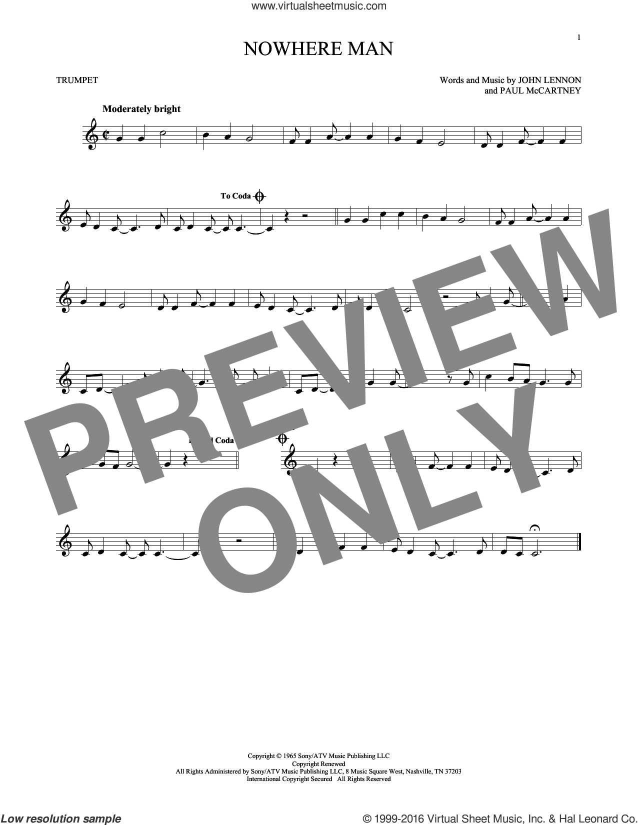 Nowhere Man sheet music for trumpet solo by The Beatles, John Lennon and Paul McCartney, intermediate skill level