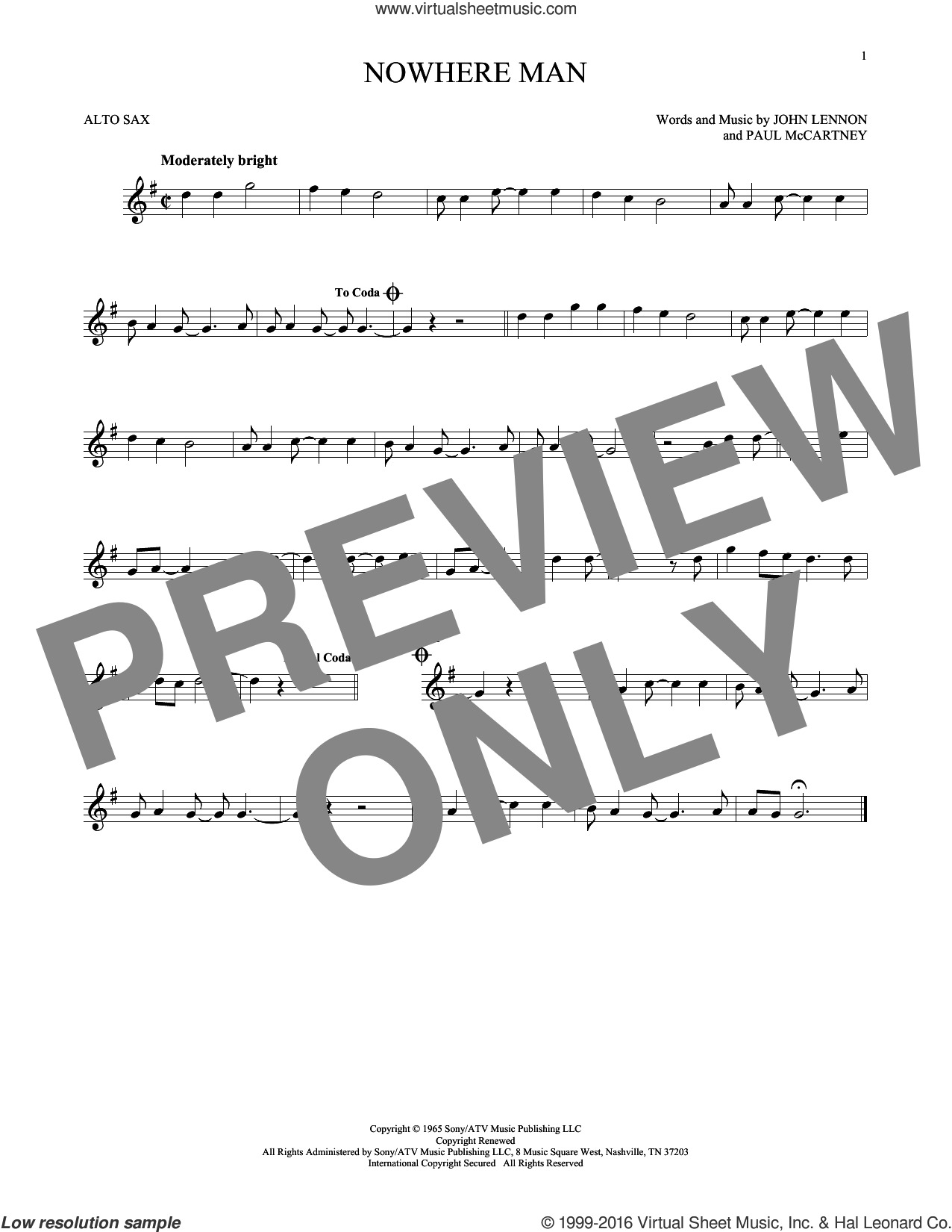 Nowhere Man sheet music for alto saxophone solo by The Beatles, John Lennon and Paul McCartney, intermediate skill level