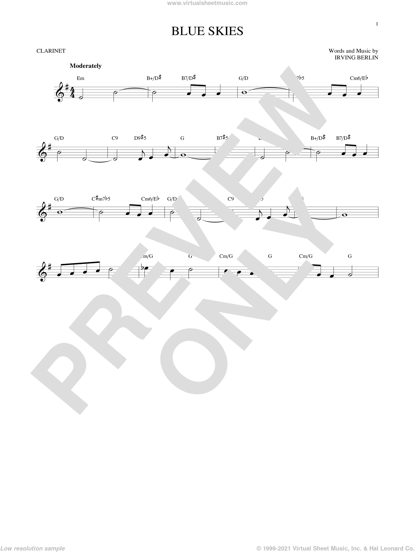 Blue Skies sheet music for clarinet solo by Irving Berlin and Willie Nelson, intermediate skill level