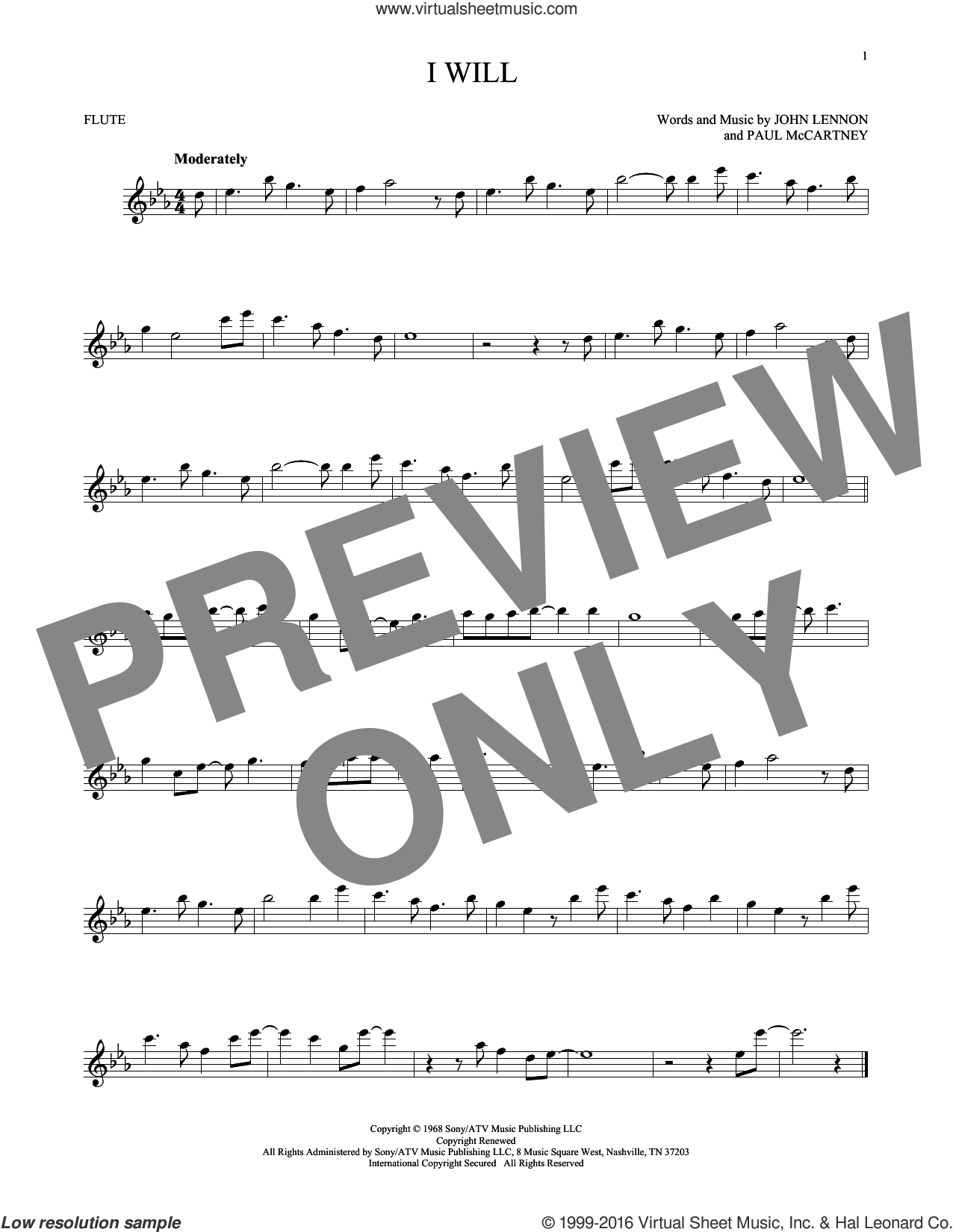 I Will sheet music for flute solo by The Beatles, John Lennon and Paul McCartney. Score Image Preview.