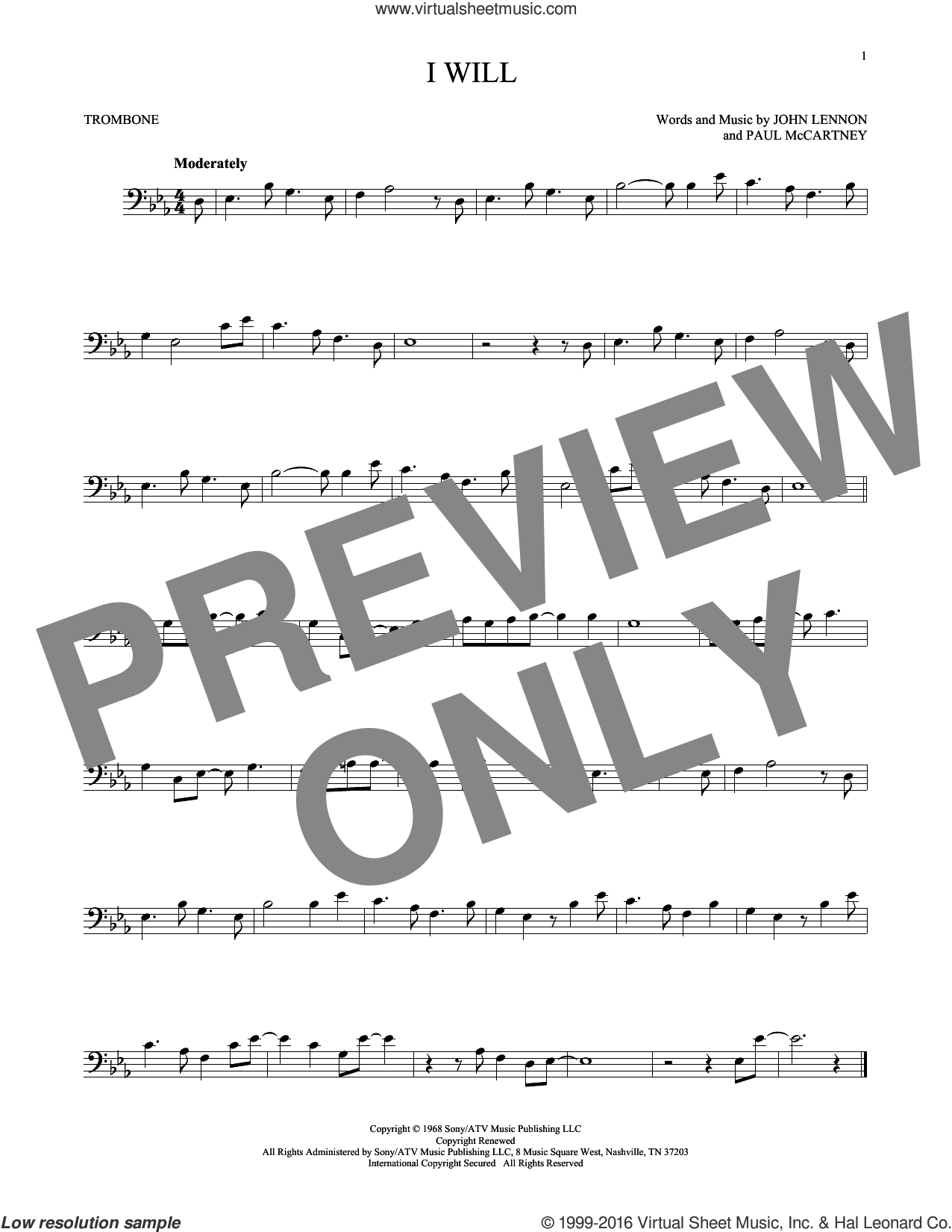I Will sheet music for trombone solo by Paul McCartney, The Beatles and John Lennon. Score Image Preview.