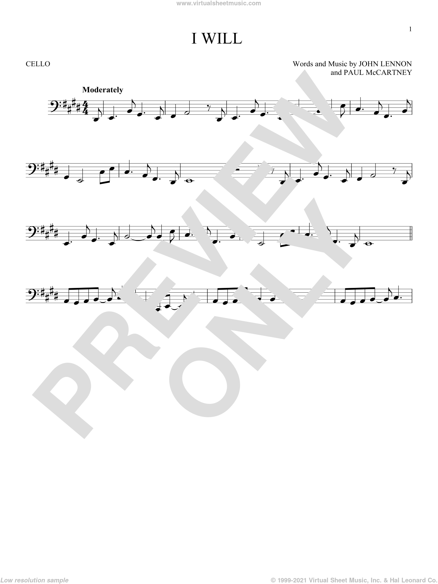 I Will sheet music for cello solo by Paul McCartney, The Beatles and John Lennon. Score Image Preview.