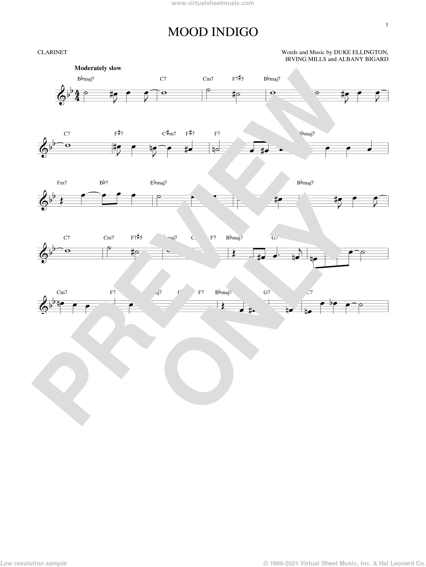 Mood Indigo sheet music for clarinet solo by Duke Ellington, Albany Bigard and Irving Mills, intermediate skill level