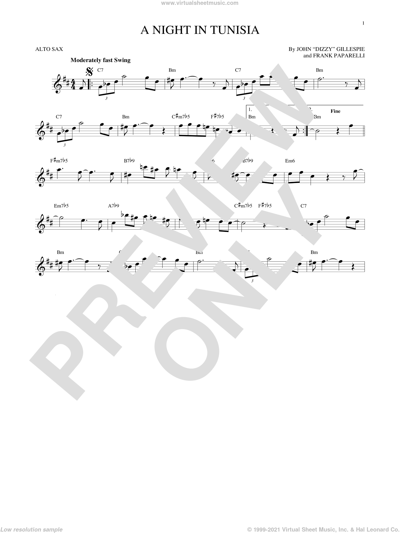 A Night In Tunisia sheet music for alto saxophone solo by Frank Paparelli and Dizzy Gillespie. Score Image Preview.