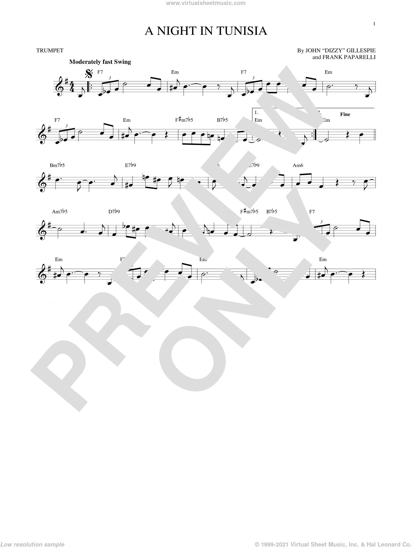 A Night In Tunisia sheet music for trumpet solo by Frank Paparelli and Dizzy Gillespie. Score Image Preview.