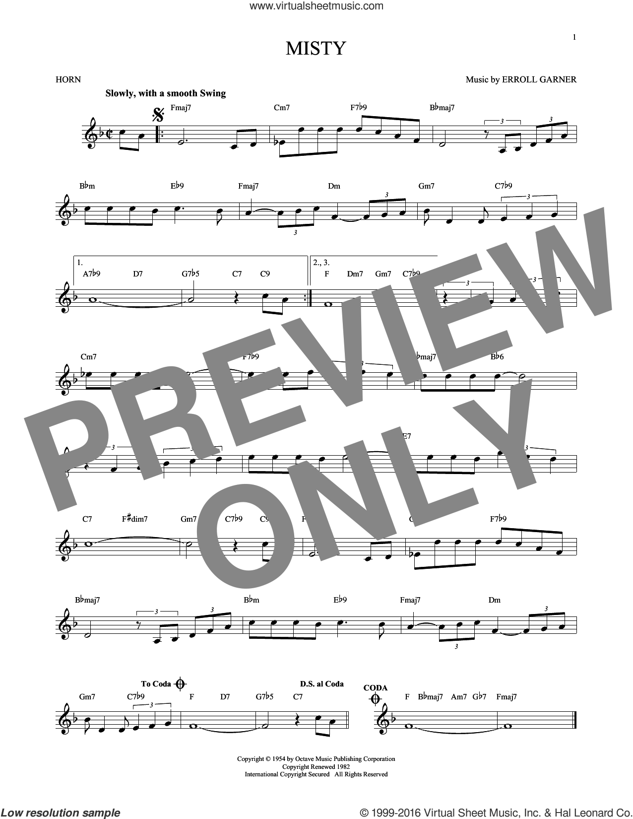 Misty sheet music for horn solo by John Burke, Johnny Mathis and Erroll Garner. Score Image Preview.