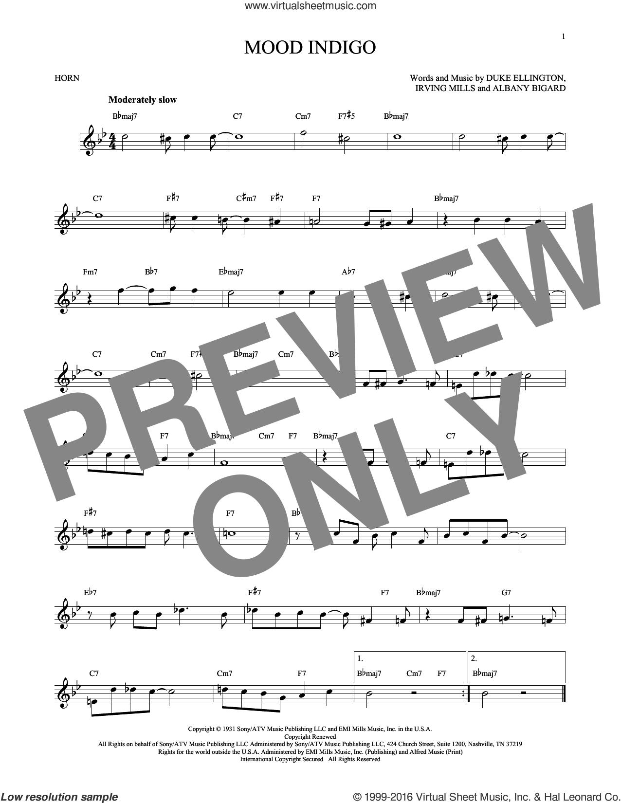 Mood Indigo sheet music for horn solo by Duke Ellington, Albany Bigard and Irving Mills, intermediate skill level