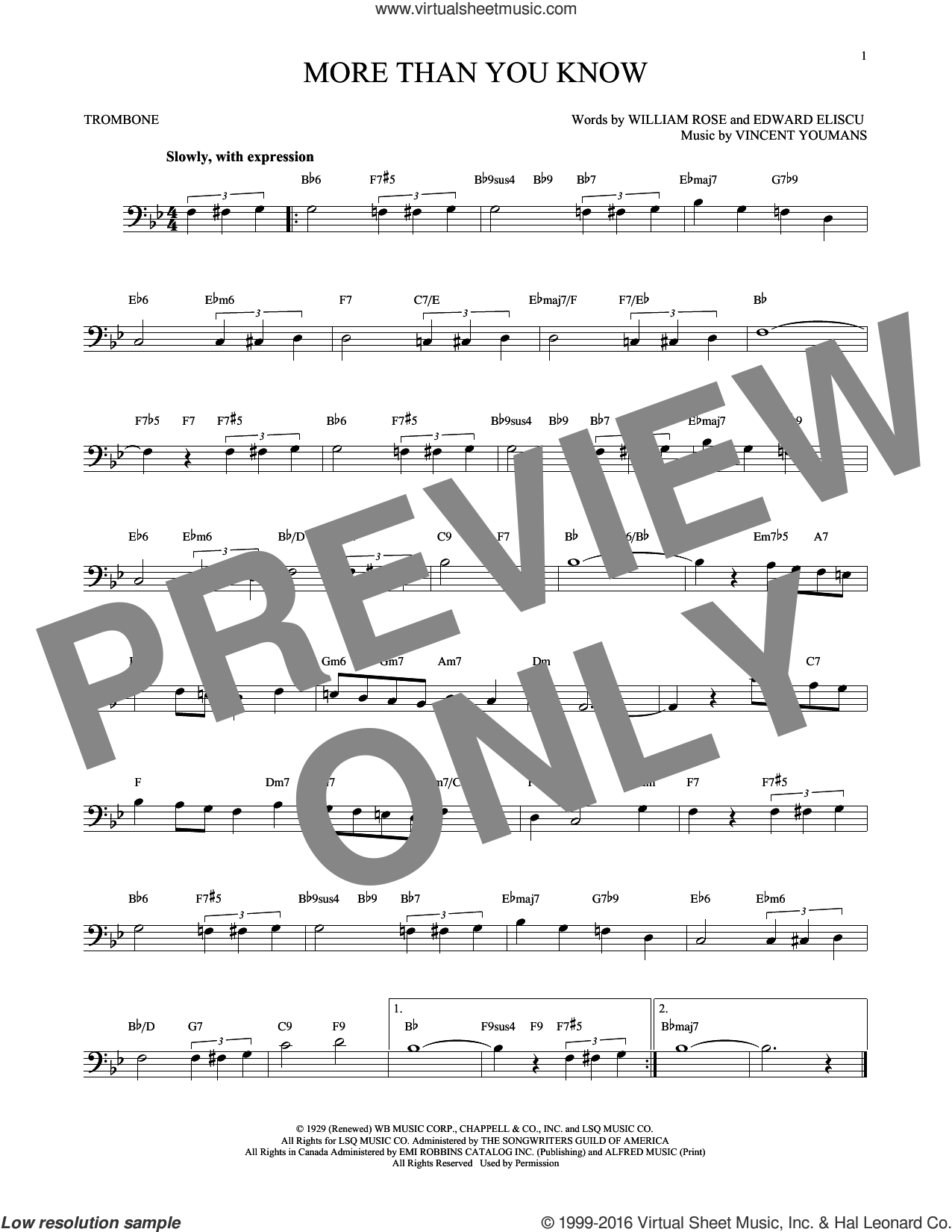 More Than You Know sheet music for trombone solo by Vincent Youmans, Edward Eliscu and William Rose, intermediate trombone. Score Image Preview.