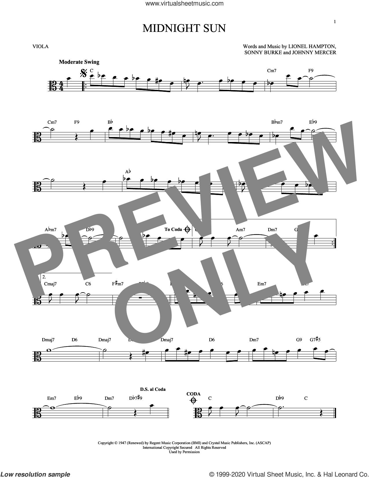 Midnight Sun sheet music for viola solo by Johnny Mercer, Lionel Hampton and Sonny Burke, intermediate skill level