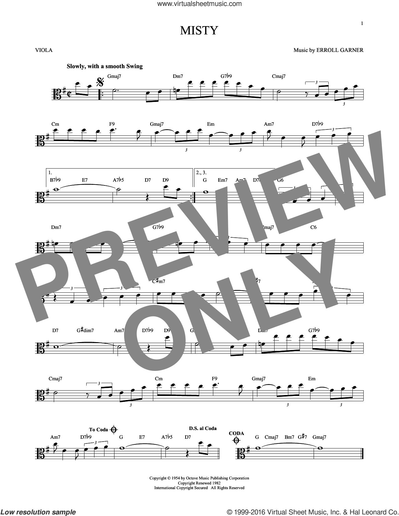 Misty sheet music for viola solo by John Burke, Johnny Mathis and Erroll Garner, intermediate skill level