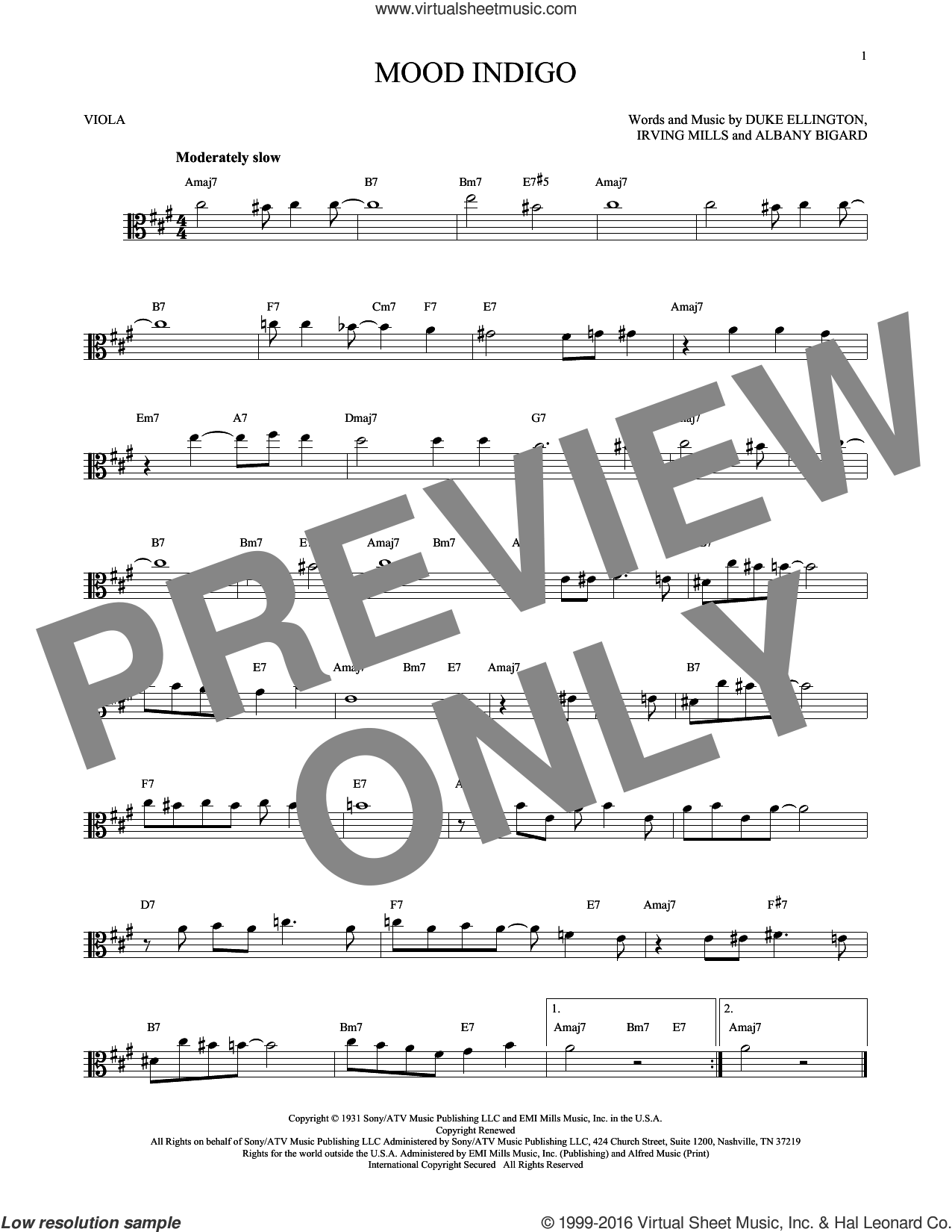 Mood Indigo sheet music for viola solo by Duke Ellington, Albany Bigard and Irving Mills, intermediate skill level