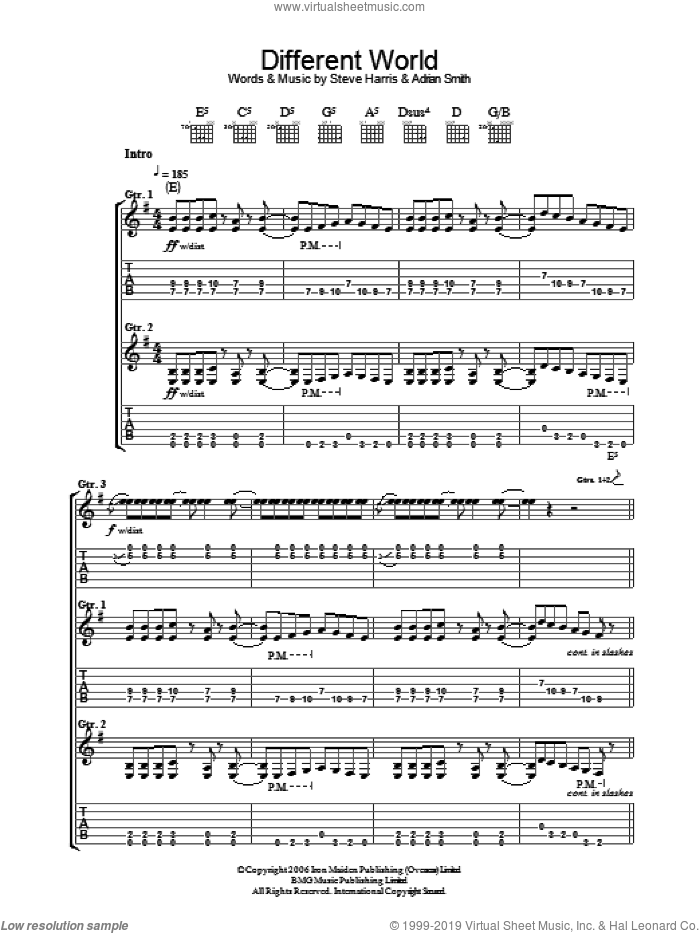 Different World sheet music for guitar (tablature) by Iron Maiden, Adrian Smith and Steve Harris. Score Image Preview.