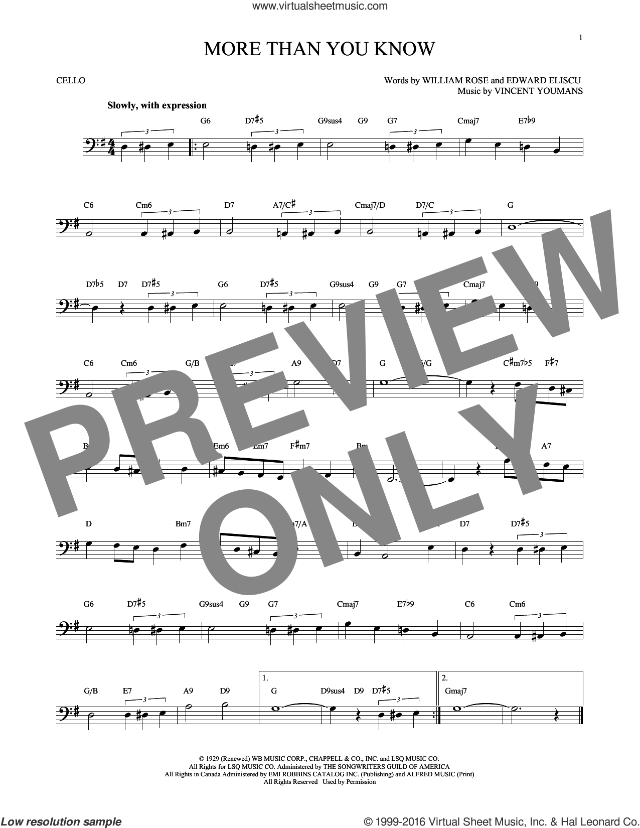 More Than You Know sheet music for cello solo by Vincent Youmans, Edward Eliscu and William Rose, intermediate skill level